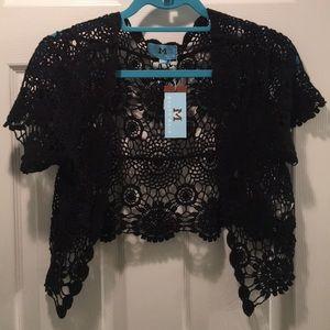 NEW Shrug-shawl-cardigan knit lace see-through